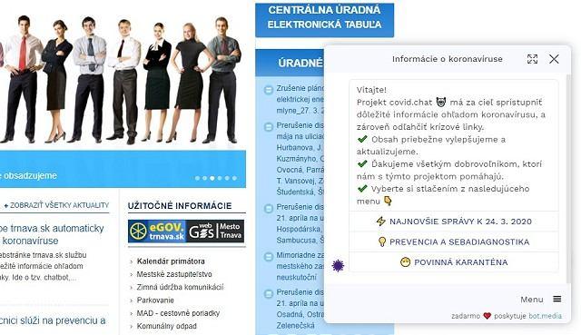 Na webe Trnavy zriadili chatbot ku koronavírusu, župa vytvorila informačný web